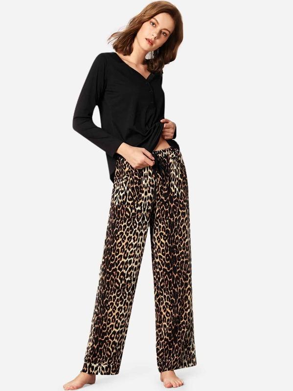 a3201abac859e Solid Top & Leopard Print Trousers PJ Set | SHEIN UK