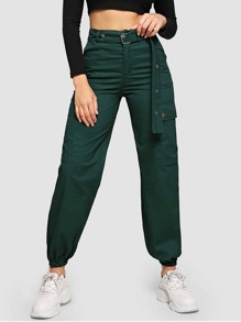 Metal Grommet Belted Utility Pants