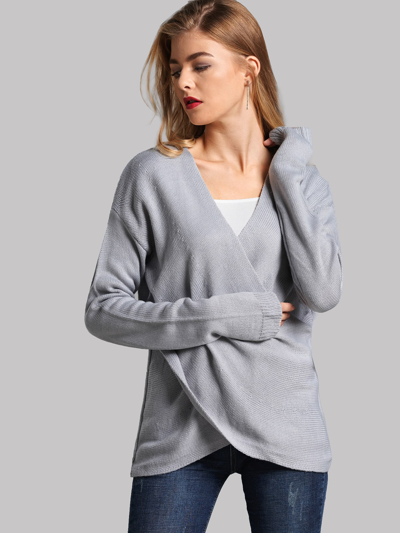 Asymmetrical Hem Crossover Sweater Asymmetrical Hem Crossover Sweater