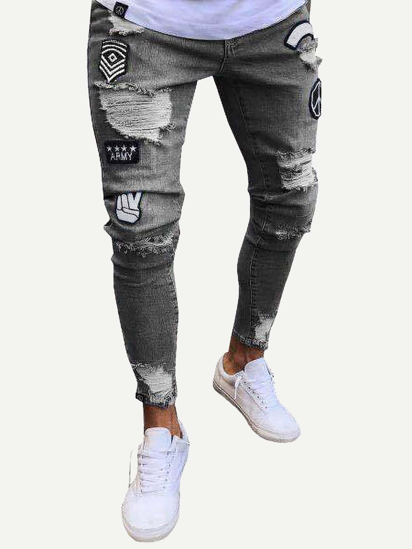 Men Patched Ripped Tapered Jeans Men Patched Ripped Tapered Jeans