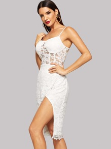 Lace Overlay Bustier Wrap Cami Dress
