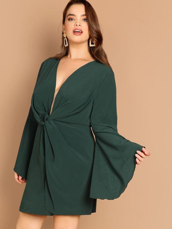00ce5de178 Plus Plunging Neck Bell Sleeve Dress | SHEIN