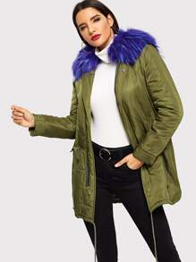 Faux Fur Detail Drawstring Waist and Hem Parka Coat