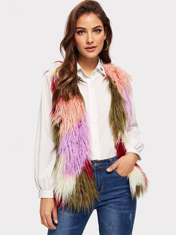 176098882183 Colorful Faux Fur Vest