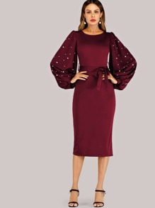 Belted Pearls Bishop Sleeve Dress