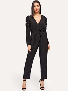 Self Tie Pearl Beaded Jumpsuit