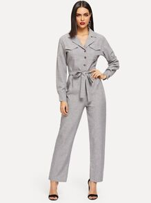 Self Tie Dual Pocket Jumpsuit