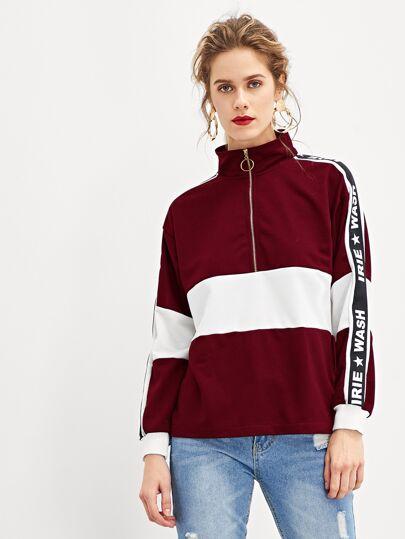 c368917c325 Quarter Zip Letter Print Sweatshirt