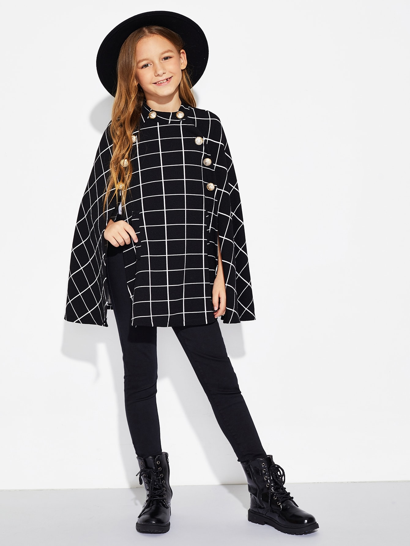 Girls Double Button Grid Cape Coat Girls Double Button Grid Cape Coat