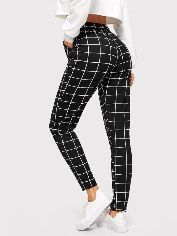 aa69d76c8185f Pantalon à carreaux à taille élastique avec poches -French SHEIN(SHEINSIDE)