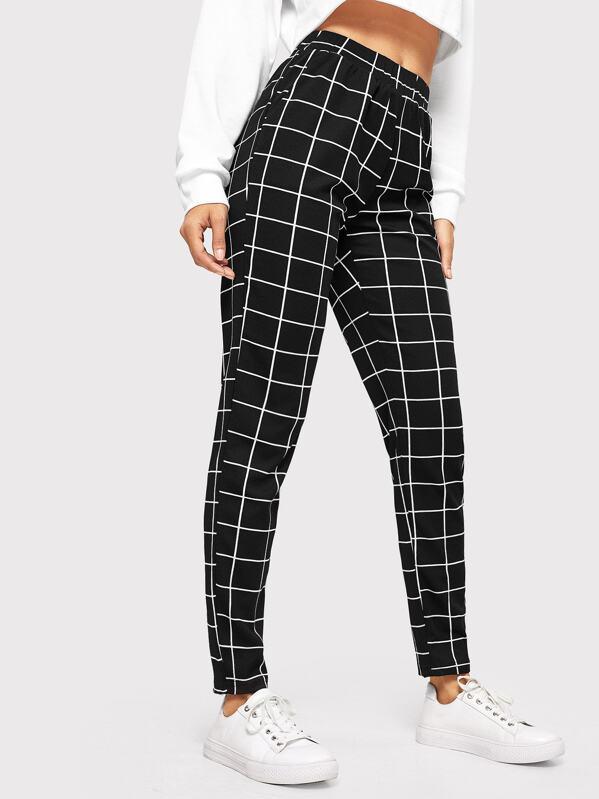 5ac7136b83 Elastic Waist Slant Pocket Grid Pants. AddThis Sharing Buttons