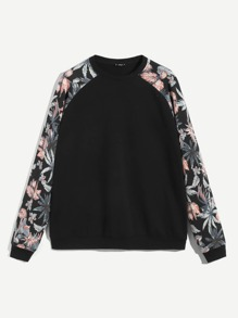 Men Crew Neck Raglan Sleeve Plants