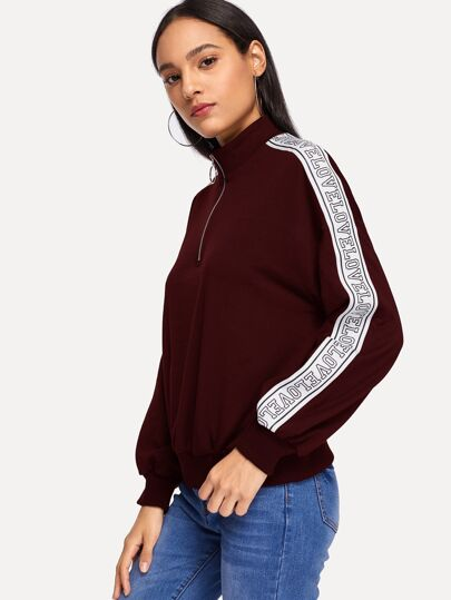 Letter Tape Detail Half Placket Sweatshirt