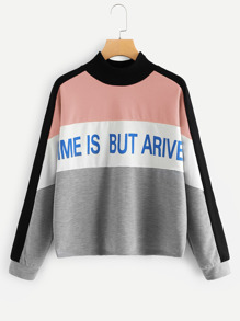 Mock-Neck Color Block Letter Sweatshirt
