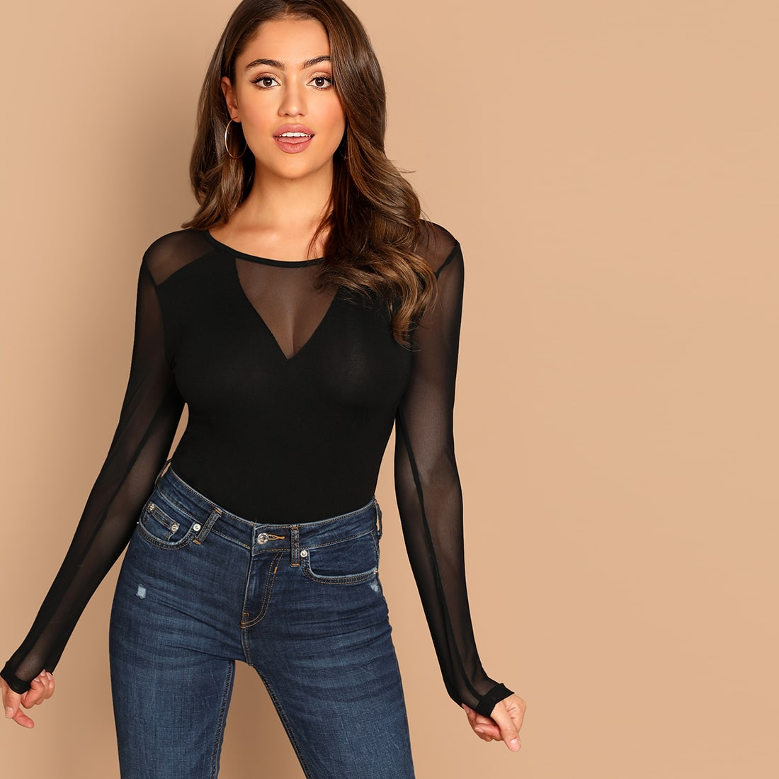 SHEIN coupon: Sheer Mesh Panel Form Fitted Tee