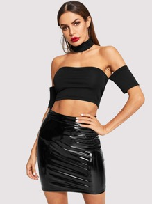 Slim Fitted Bardot Top & PU Skirt Set