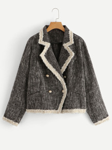 Plus Contrast Binding Tweed Blazer