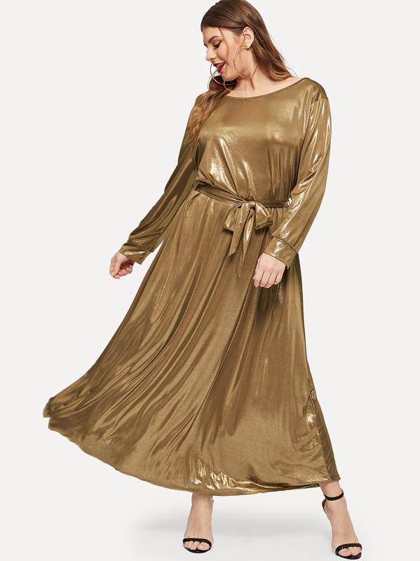 Plus Self Belted Metallic Dress | SHEIN