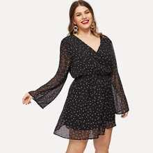 Plus Surplice Neck Sheer Bell Sleeve Star Dress