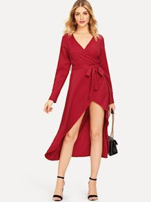 V Neck Solid Overlap Dress