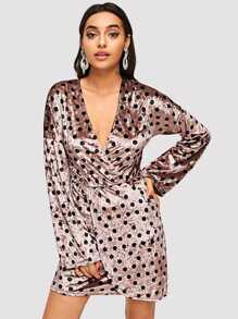 Plunging Neck Dot Velvet Dress