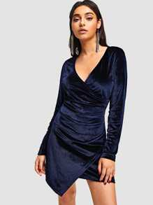 Asymmetrical Hem Surplice Velvet Dress