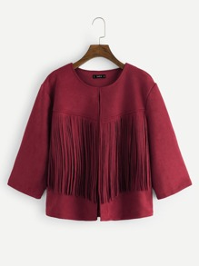 Plus Fringe Detail Suede Coat