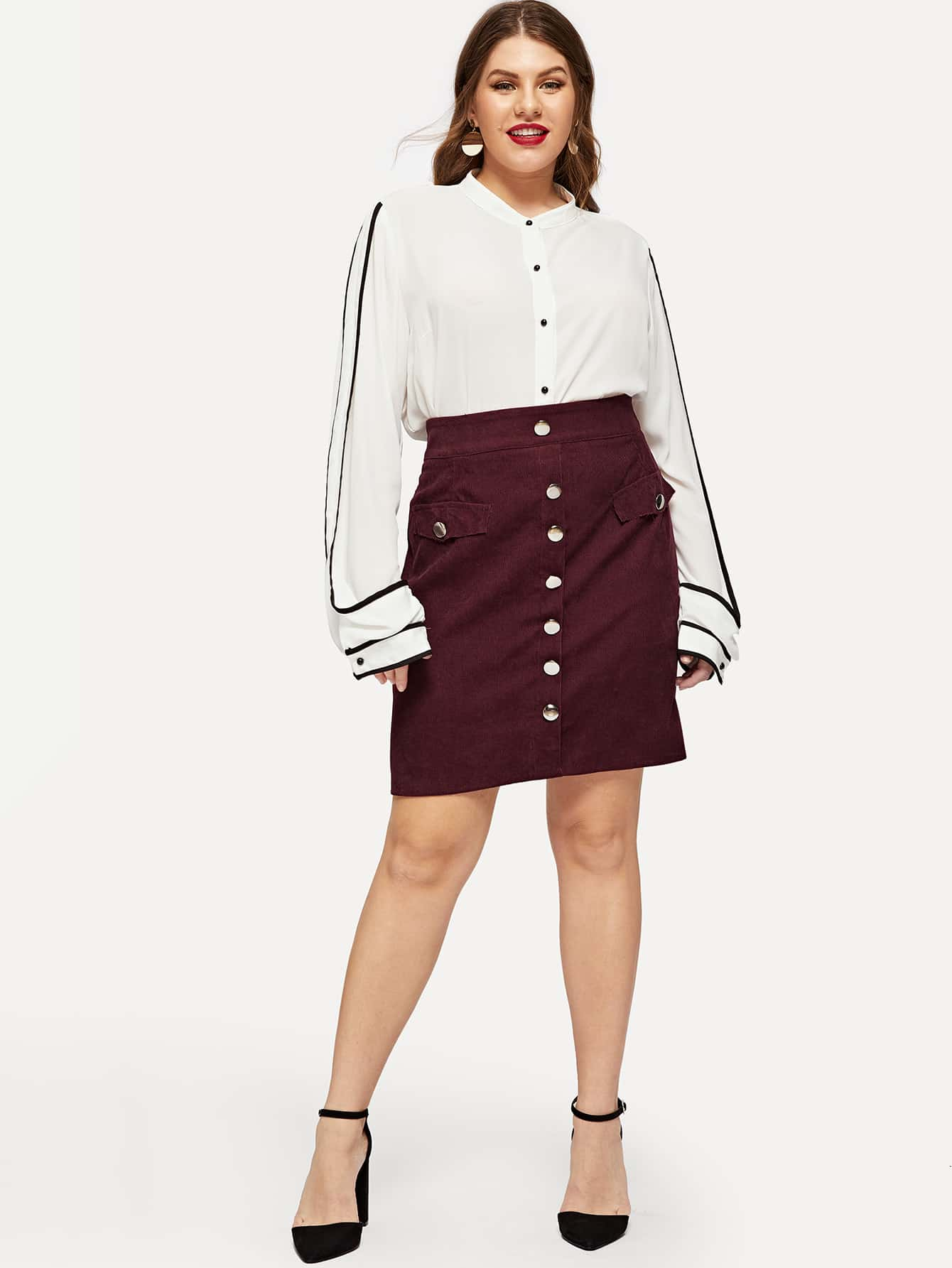 49d0b39f88 Plus Wide Waistband Button Front Cord Skirt EmmaCloth-Women Fast ...