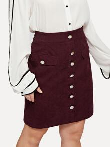 Plus Wide Waistband Button Front Cord Skirt