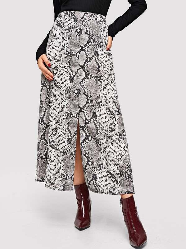 247b320e33 Snake Skin Print Split Skirt   SHEIN
