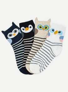 Cartoon Striped Socks 4pairs