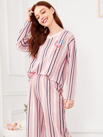 f0347b823 Flamingo Print Striped Pajama Set