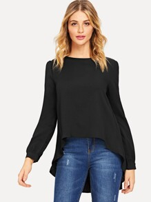 Pleated Back Dip Hem Blouse