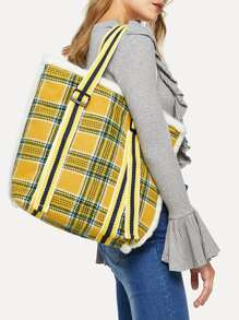 Plaid Detail Tote Bag