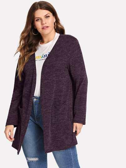 39e03688980 Plus Plain Pocket Sweater Coat