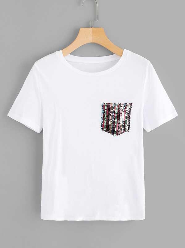 factory price 92a0b 98ed3 Maglietta con taschino con paillettes a contrasto