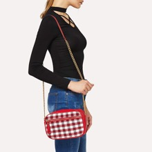 SHEIN   Gingham Detail Chain Crossbody Bag   Goxip