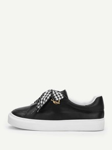 Gingham Knot Design PU Sneakers