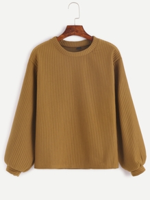 Khaki Long Sleeve Ribbed Sweatshirt