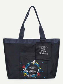Floral Print Oxford Tote Bag