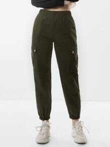 Elastic Waist Solid Pant