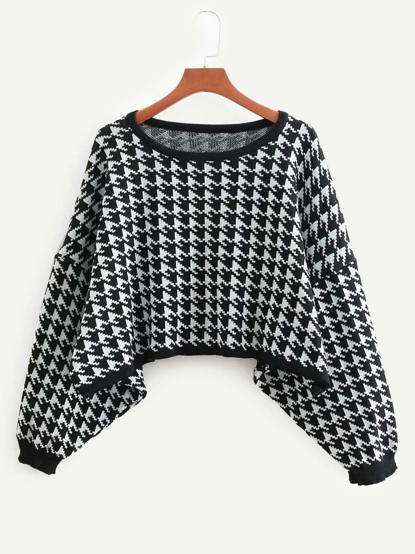 Batwing Sleeve Houndstooth Jumper Batwing Sleeve Houndstooth Jumper