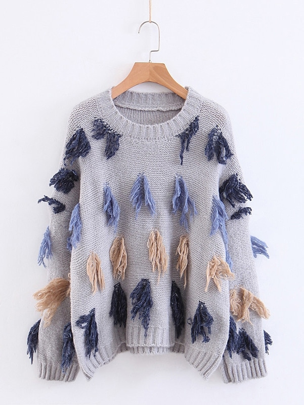 Drop Shoulder Fringe Trim Jumper Drop Shoulder Fringe Trim Jumper