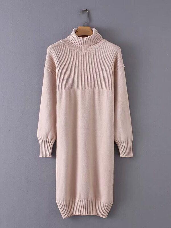 High Neck Rib Knit Trim Sweater Dress High Neck Rib Knit Trim Sweater Dress