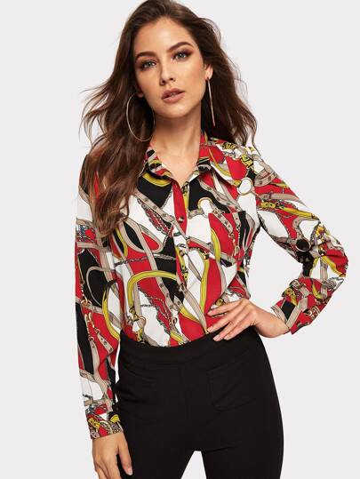 Chain Print Blouse pictures