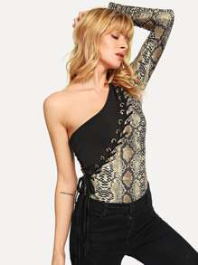 Grommet Lace-up Snake Print Bodysuit