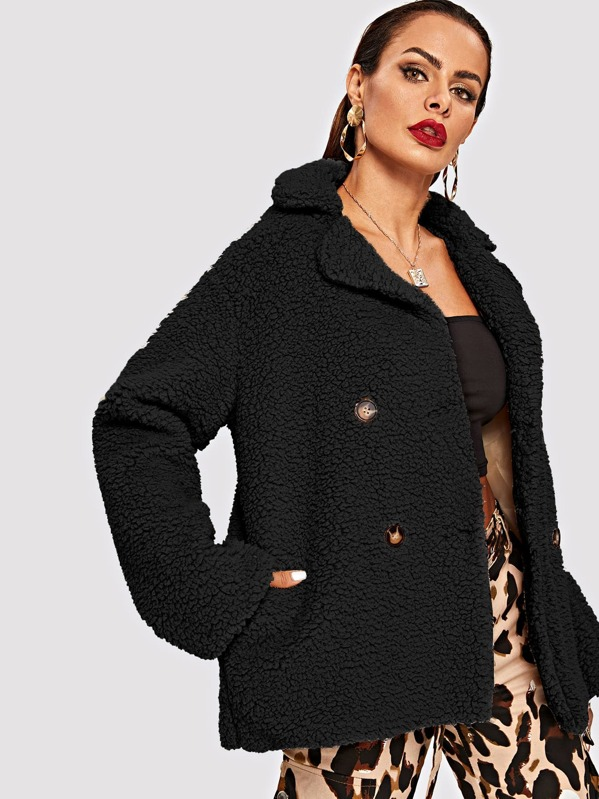 ebd856c27e Double Breasted Teddy Coat | SHEIN