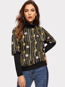 Leg-of-mutton Sleeve Chain Print Tee