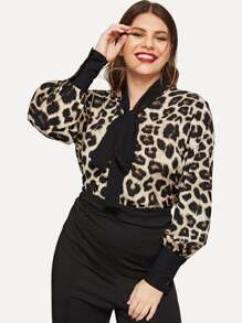 Plus Cheetah Print Tie-neck Blouse