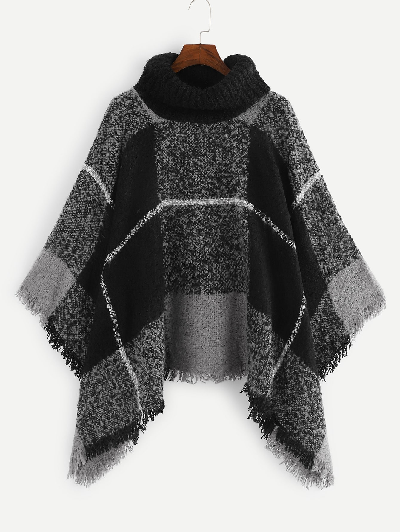 Plaid High Neck Poncho Sweater Plaid High Neck Poncho Sweater